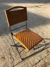 More details for retro folding metal and canework dining chair in great condition