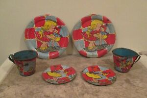 Vintage Ohio Art Co. Tin Litho Dishes - 6 Pieces - Plates, Cups, Saucers