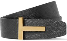 "Tom Ford Signature T Buckle Reversible Black Icon Belt 36"" EU 95cm"