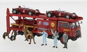 Brekina 58475 - Fiat 642 bisarca Set Ferrari+2 F156+personaggi, 1962  1:87