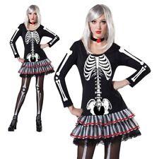 Adult Skeleton Womens Costume Halloween Bones Ladies Fancy Dress Outfit New