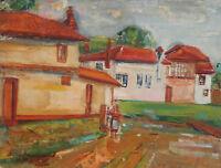 1950 Impressionist oil painting landscape village signed