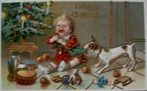 An Early Chromo Colour Postcard. Dog trying a doll from babies grasp.