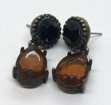 Vintage Earrings Dangle Glass Rhinestone