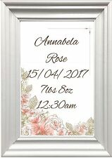 Personalised baby print with birth details, new baby christening gift,