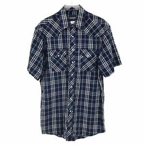Wrangler Mens Western Blue Plaid Snap Front Short Sleeve Western Shirt 16.5 Tall