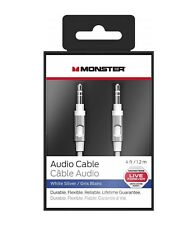 Monster Premium Audio Aux Cable 3.5mm Jack To Jack - White/Silver 4ft - 1.2m