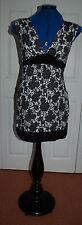 New Sz 6-8 Jersey Monochrome Floral Waist Tie Tunic Dress