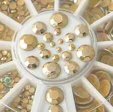DIY 3d Rivet Nail Art Decoration Acrylic Glitter Gold Rhinestone 300p 5 Sizes HS