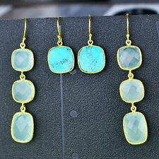 925 Sterling Silver Chalcedony, Turquoise gemstone earrings lot jewelry 9.48g CC