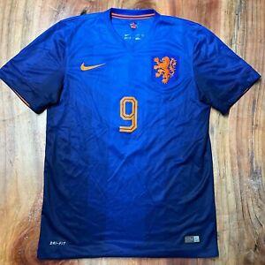 Nike Netherlands Robin Van Persie 2014 Away Soccer Jersey Blue Men's Small C25