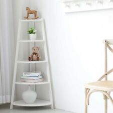White MDF 5 Tier Ladder Corner Shelving Display Storage Unit Bathroom Bedroom
