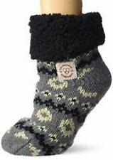 Dearfoams 60559 Cable Knit Blizzard Slipper Socks In Dark Grey ONE Size
