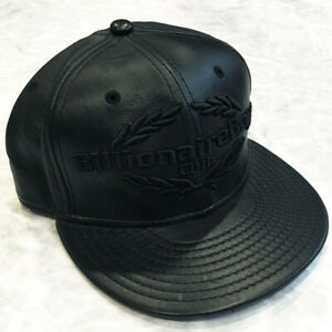 BBC BILLIONAIRE BOYS CLUB ICE CREAM x NEW ERA BLACK LEATHER HAT 7 1/2 HAT CAP