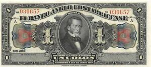 Costa Rica  1  Colon  L. 23.6.1917  S121  Series  A  Uncirculated Banknote