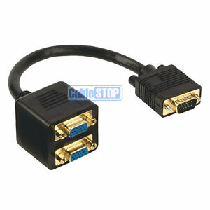 PRO 15 Pin 1 PC LAPTOP TO 2 TV MONITOR SVGA Y SPLITTER ADAPTER GOLD