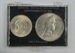 Phillipines 1947-S Original Toned MacArthur Silver Peso & Silver 50 Centavos Set