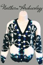 Vtg Women Fluffy Soft Wool Angora Black White Nordic Button Cardigan Sweater S