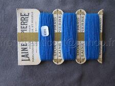 R391 Mercerie ancienne carte fil 3 bobines LAINE SAINT PIERRE bleu Lyon Paris