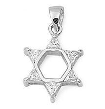 Silver Pendant with Cubic Zirconia Star of David Pendant Size 24 mm (0.95 inch)