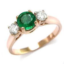 Genuine Emerald and Diamond Engagement Three Stone Ring 14k Rose Gold