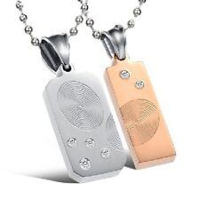 Collana per coppia Impronta digitale Acciaio inox 2 amore Ciondolo Strass + 2