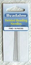 10 'Beadalon' Twisted Fine Beading Needles (0.23 mm diameter)