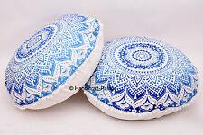 2 PC Indian Blue Ombre Mandala Design Huge Round Floor Cushion Pillow Cover Sham