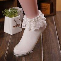 Princess Ruffle Women Girl Ladies Frilly Cute Lace Ankle Socks Sweet