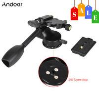 3-way Fluid Ball Head Rocker Arm+Quick Release Plate For Camera DSLR Tripod U9B1