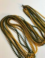 Vintage Groovy Long Faceted Plastic Fused Multi Strand Bead Necklace YellowGreen