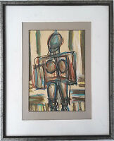 Mid Century Modernist Painting, Study of a Female Figure Signed Rye