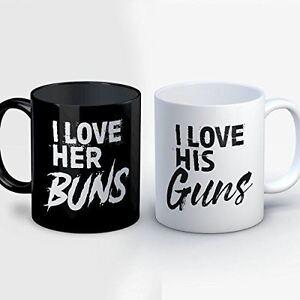 Couples Coffee Mug - Her Buns His Guns - Funny 11 oz Black/White Ceramic Tea Cup