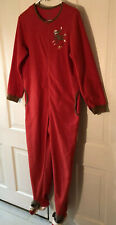 NICK & NORA RED SOCK MONKEY PAJAMAS FOOTED ONE PIECE SIZE ADULT SMALL
