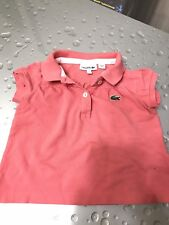 Girls Lacoste Coral  Pink Short Sleeve Summer top  Cotton size 2 years
