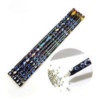 10Pcs Rhinestones Bead Picker Wax Resin Pencil Nail Art Dotting Tool Point Pen