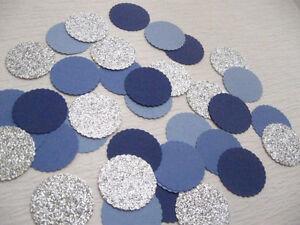 "Confetti 1"" Paper Circles Blues Silver Wedding Birthday Party Decor"