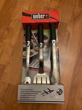 New Weber 3-Piece Stainless Steel Premium Grill Tool Set 6630