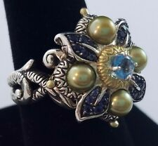 Barbara Bixby Sterling Silver 18 Gold Flower Ring Blue Stones Green Pearls Sz 9
