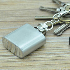 Mini Pocket Hip Flask With Key Ring Keychain 1Oz Liquor Storage Stainless Steel