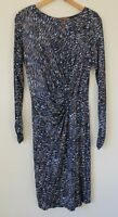 GHOST LONDON Navy Brown Patterned Ruched Long Sleeved Dress Satin Feel UK 12