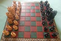Wooden folding chess board & pieces kadam wood jali work hand crafted game