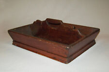 Antique Vtg 19th C 1840s Carved Wooden Knife Tote Carrier Square Nails Dovetails