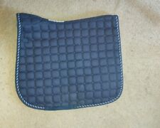 SmartPak full-sized wither-relief saddle pad, navy blue with silver trim, used