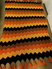 Vintage Crochet Knit Afghan Chevron Throw Blanket Brown Orange Yellow w/ Tassels