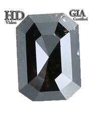 GIA CERTIFIED 1.55 Ct Natural Loose Diamond Emerald Fancy Black 7.20MM L7781