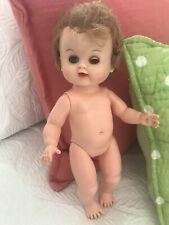 Vintage Hard Plastic /Rubber 12� Unmarked Baby Doll Lt Brown Hair