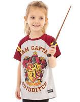 Harry Potter T-Shirt Quidditch Team Captain Girl's Raglan Kids Grey Top