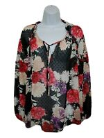 Liz Claiborne Career Swiss Dot Floral Blouse Black/ Peach/Ivory/Purple Size L