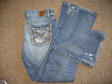 Women's BKE Denim Culture Blue Jeans 29 x 31 1/2 Distressed Stitched Pockets